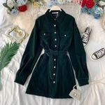 Elegant  Vintage Thick Shirt Dress