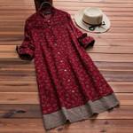 Ruffle Button Patchwork Pleated Print Linen  Shirt Dresses