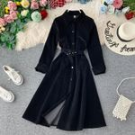Long Sleeve Belt Midi Elegant Vintage Fashion Shirt Dress