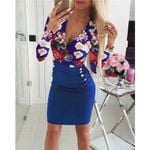 Elegant Long Sleeve V Neck High Waist  Floral Office Dress