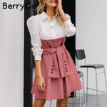 High waist patchwork  Elegant button sash belt office dresses