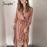 Sexy v-neck printed  ruffled Elegant  office   dress