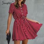 striped Casual cotton button high waist  a-line  office  dress