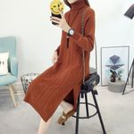 Turtleneck Pullover  Knitted Long Sweater Dress