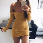 Sexy Off Shoulder  Slim Knitted Elastic Sweater Dress