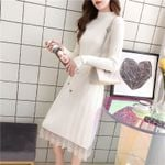 Vintage Casual Knitted Lace Long Elegant Sweater Dress