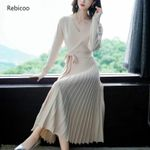 Long Sleeve V-Neck Pleated  Knit Sweater Dress