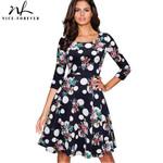 O Neck Elegant 3/4 Sleeve A-Line  Vintage Flower Polka Print Dress