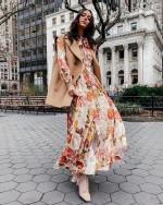 V-neck Lace Floral Pure Linen Long sleeve print Dress