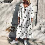 Casual Loose Long Sleeve Maxi Long Print Dress