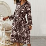 long sleeve printed Vintage leopard print Dress