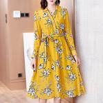 Elegant Vintage Real Silk Fashion Print Dress