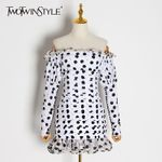 Slash Neck Long Sleeve High Waist Patchwork Ruffle Dot Print Dress