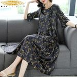 Silk  Fashion Midi  Fashion Elegant Vintage Print Dress