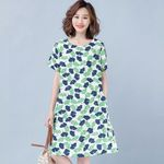 Casual Short Sleeve  Loose Leaves Printed Dress