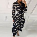 Button Casual  Long Sleeve Print Dresses