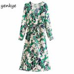 Long Sleeve Cross V Neck Sashes Floral Print Wrap Dress