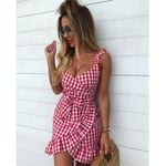 V-neck Sleeveless Spaghetti Strap  Wrap Dresses
