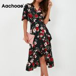 V Neck Long Elegant Floral Print  Ruffle Short Sleeve Wrap Dress