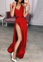 Sleeveless  V Neck Party Long Wrap  Dress