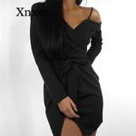 Strapless  Off Shoulder Bandage Sexy V-Neck  Black Dress