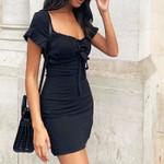 Fashion Elegant Sexy  High waist Lace-up waist slim black dress