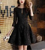 Sexy Shining Sleeve Black Dress