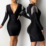 Sexy  Long Sleeve High Waist Tassels Deep V Black Dress