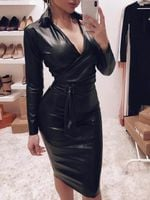 Sexy Casual Long Sleeve V Neck Sashes Leather Black Dress