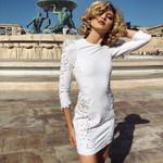O Neck  Elegant Long Sleeve White Dress
