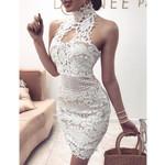 Sexy Bandage Elegant Sleeveless  Lace White Dress