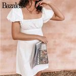 Chic Basic Vintage short Sleeve  Ruched White Dress