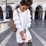 Turtleneck Short  Long Sleeve Faux Fur White  Dress