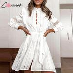 hollow out short  turtle bow long sleeve sexy white dress