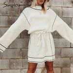 turtleneck loose long sleeve knitted sweater White dress