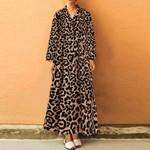 Sexy V Neck Long Sleeve Midi  Leopard Dresses