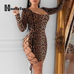 Sexy Hallow Out Mini Bandage Backless Lace-Up Leopard Dress