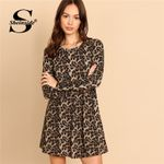 Long Sleeve Round Neck A Line Elegant Leopard Dresses