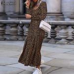 Sexy V Neck High Split  Long Sleeve  Leopard  Dress