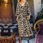 V neck Long Sleeve Casual  Long Leopard Dress