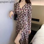 High Side Split Maxi Sexy Leopard Dress