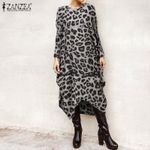 Casual Long Sleeve  Fashion  Leopard  Dress