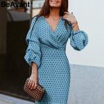 Elegant dot  V-neck lantern sleeve  high waist Vintage  dresses