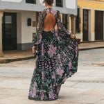 Floral Print Backless Long High Waist Vintage Dress