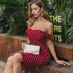 sexy off shoulder  dot vintage  dress