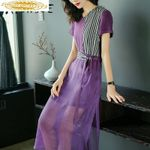 Silk  Fashion Spliced Elegant Vintage Dress
