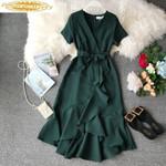 Casual Ruffle Elegant V Neck Vintage  Dresses
