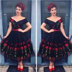 Retro Off Shoulder Mesh Lace Vintage Dress