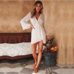 Flare Sleeve Vintage Fashion  Dot  Sexy Deep V Neck Party Dress