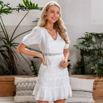 hollow out Puff sleeve ruffled v neck Casual party  dress